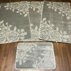 ROMANY GYPSY WASHABLE SETS OF TOURER SIZE 67X110CM MATS/RUGS SILVER/GREY ROSE